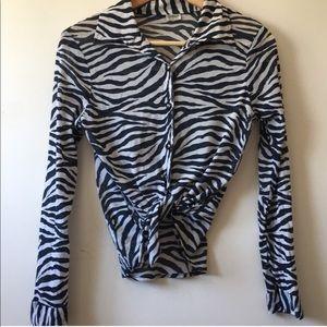 90s VINTAGE Zebra 🦓 Print Button Down Finest Mesh